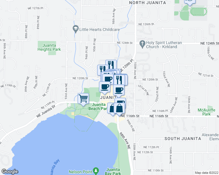 map of restaurants, bars, coffee shops, grocery stores, and more near 11801 97th Lane Northeast in Kirkland