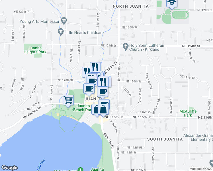 map of restaurants, bars, coffee shops, grocery stores, and more near 11920 98th Avenue Northeast in Kirkland