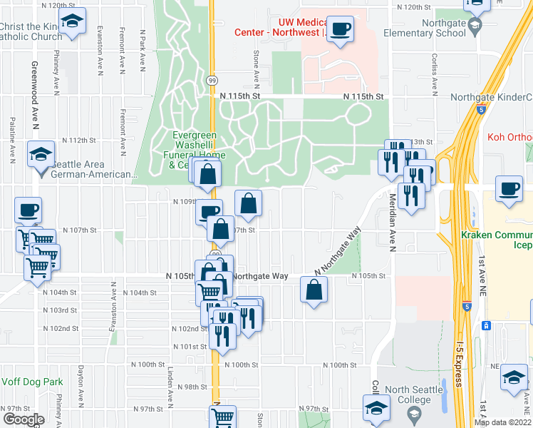 map of restaurants, bars, coffee shops, grocery stores, and more near 10722 Stone Avenue North in Seattle