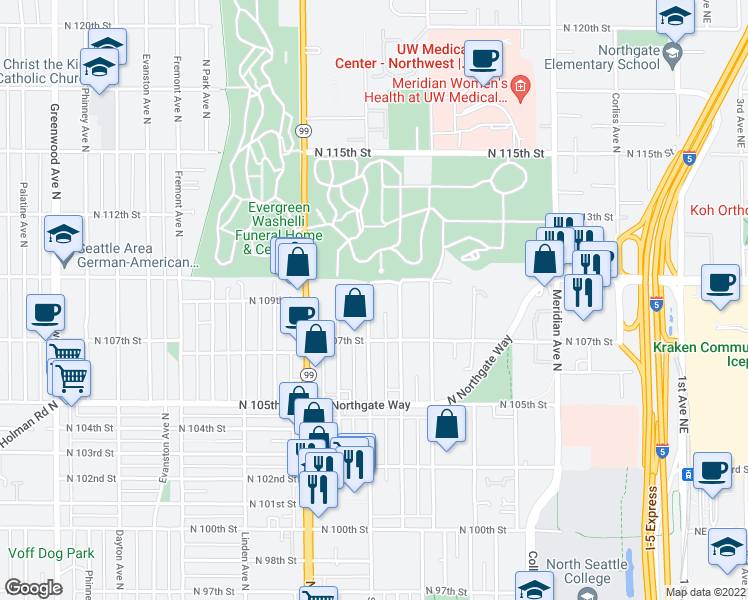 map of restaurants, bars, coffee shops, grocery stores, and more near 10740 Stone Avenue North in Seattle