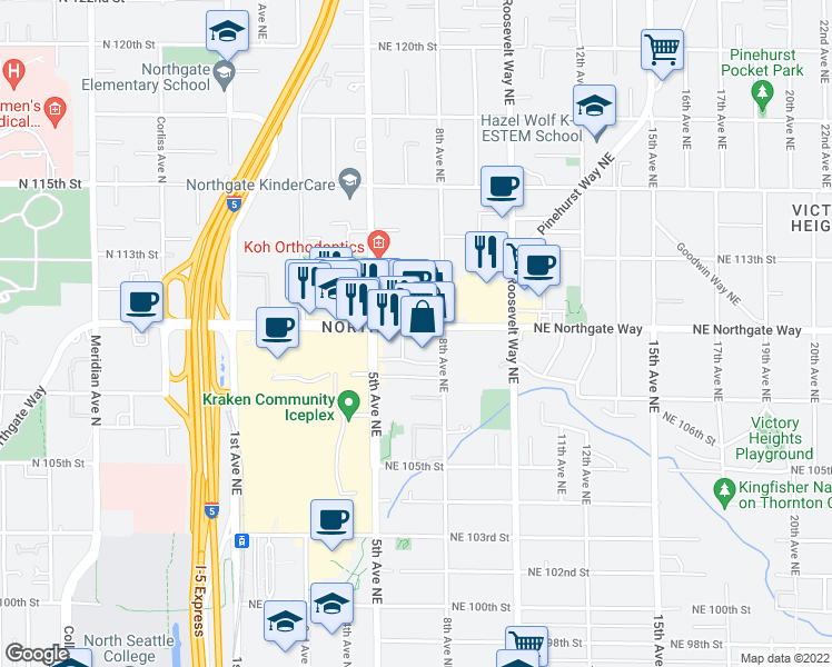 map of restaurants, bars, coffee shops, grocery stores, and more near 525 Northeast Northgate Way in Seattle