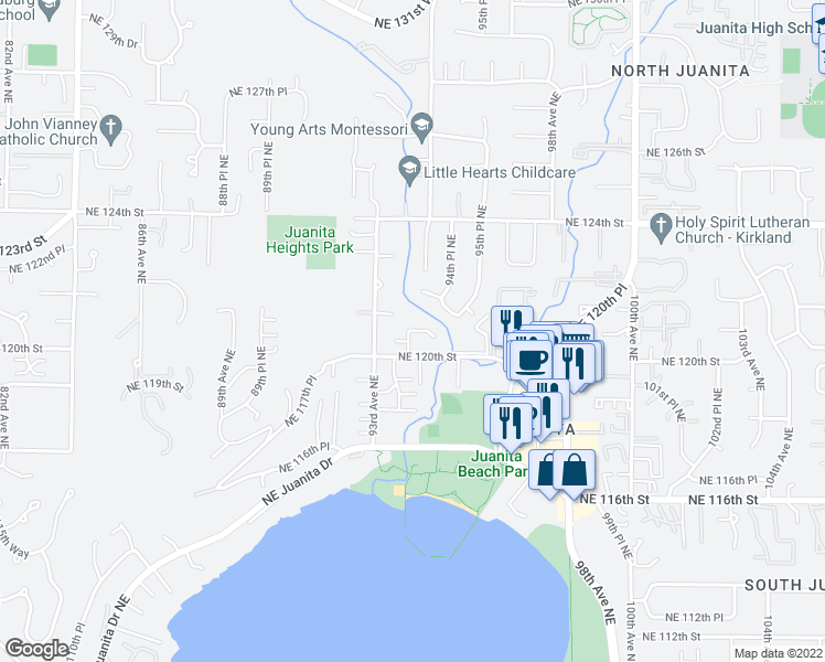 map of restaurants, bars, coffee shops, grocery stores, and more near 9333 NE 120th Pl in Kirkland