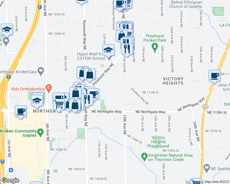 map of restaurants, bars, coffee shops, grocery stores, and more near 14th Ave NE & NE 113th St in Seattle