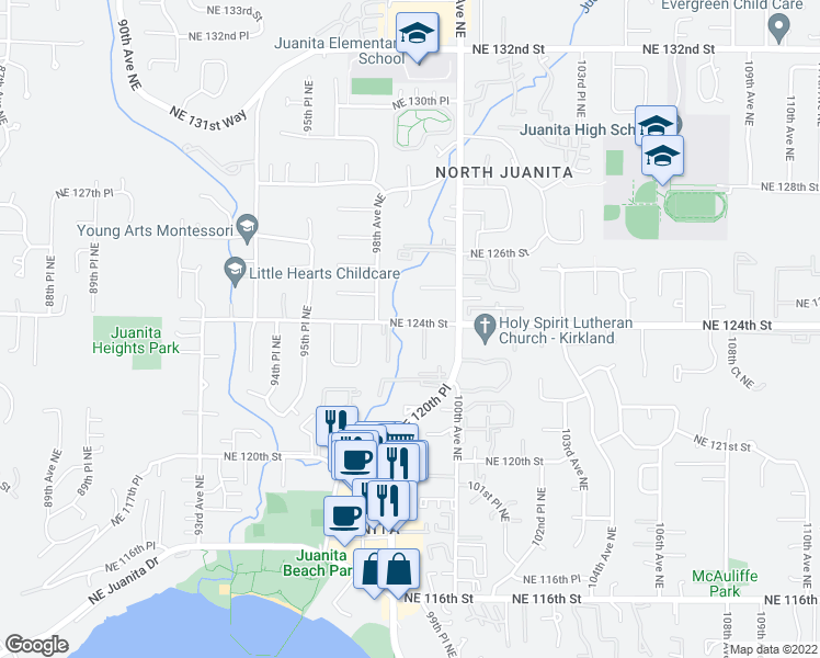 map of restaurants, bars, coffee shops, grocery stores, and more near 9900 Northeast 124th Street in Kirkland