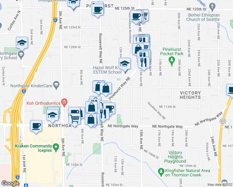map of restaurants, bars, coffee shops, grocery stores, and more near 1041 Northeast 115th Street in Seattle
