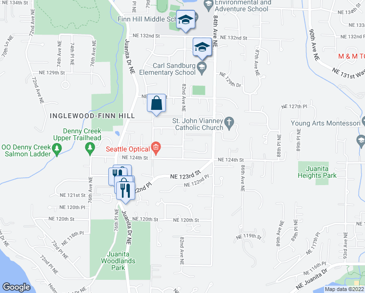 map of restaurants, bars, coffee shops, grocery stores, and more near 11107 NE 125th St in Kirkland