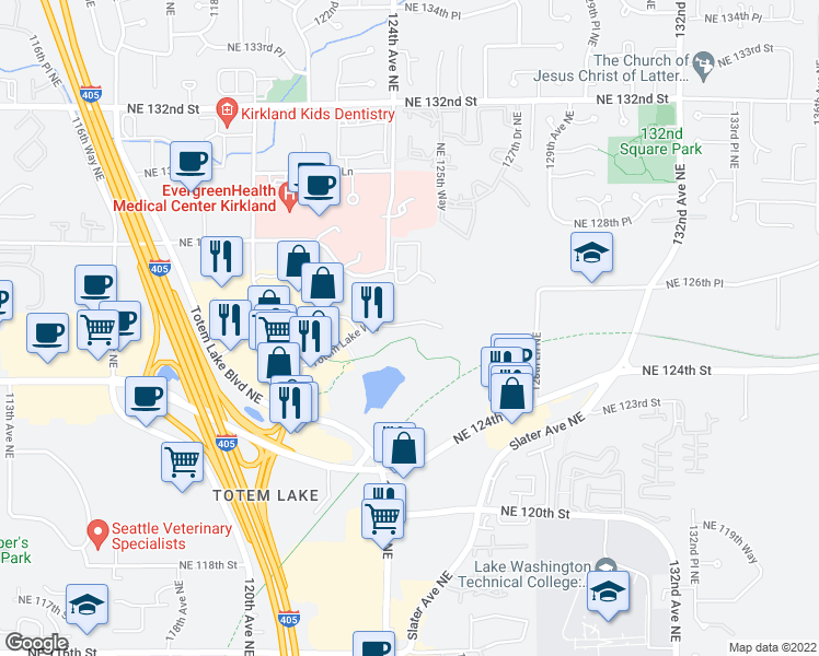 map of restaurants, bars, coffee shops, grocery stores, and more near 12411 Northeast Totem Lake Way in Kirkland