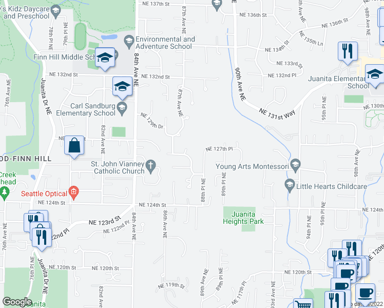 map of restaurants, bars, coffee shops, grocery stores, and more near 12638 87th Place Northeast in Kirkland