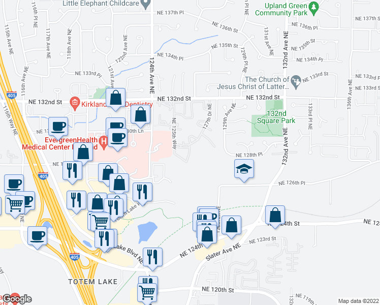 map of restaurants, bars, coffee shops, grocery stores, and more near 12700-12898 126th Way Northeast in Kirkland