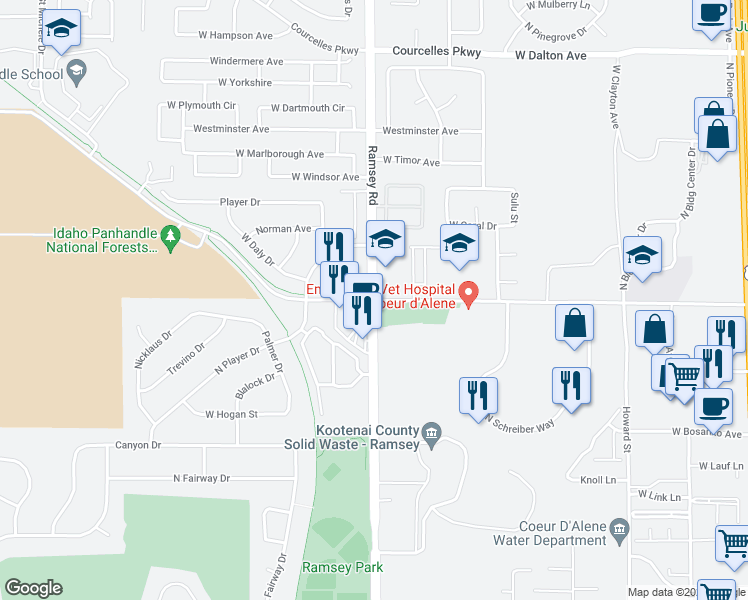 map of restaurants, bars, coffee shops, grocery stores, and more near Ramsey Road & West Kathleen Avenue in Coeur d'Alene