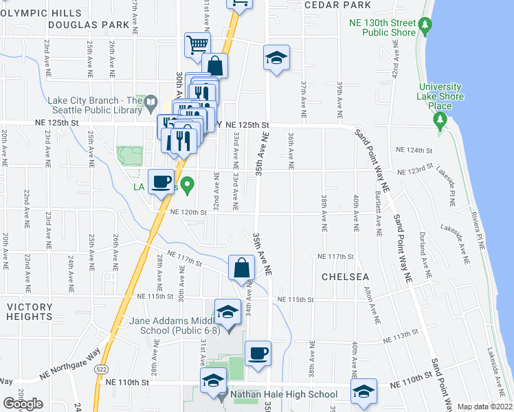 map of restaurants, bars, coffee shops, grocery stores, and more near 12033 35th Avenue Northeast in Seattle