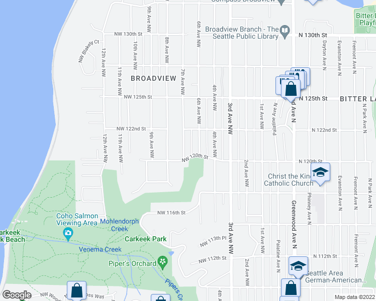 map of restaurants, bars, coffee shops, grocery stores, and more near 12018 7th Avenue Northwest in Seattle
