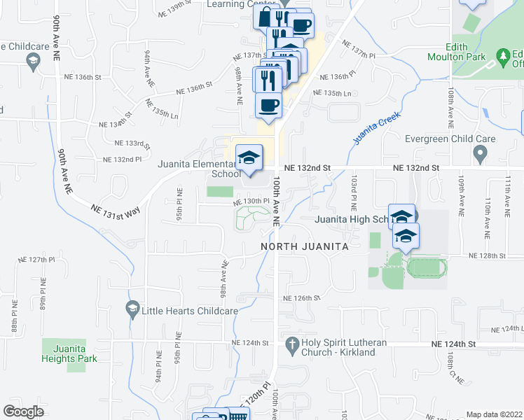 map of restaurants, bars, coffee shops, grocery stores, and more near 9823 Northeast 130th Place in Kirkland