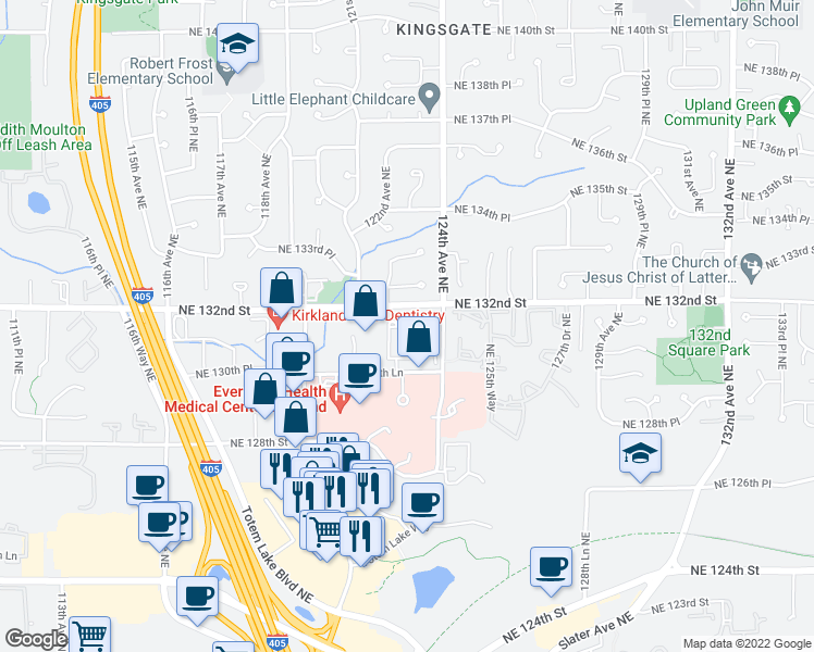 map of restaurants, bars, coffee shops, grocery stores, and more near 12233 Northeast 131st Way in Kirkland