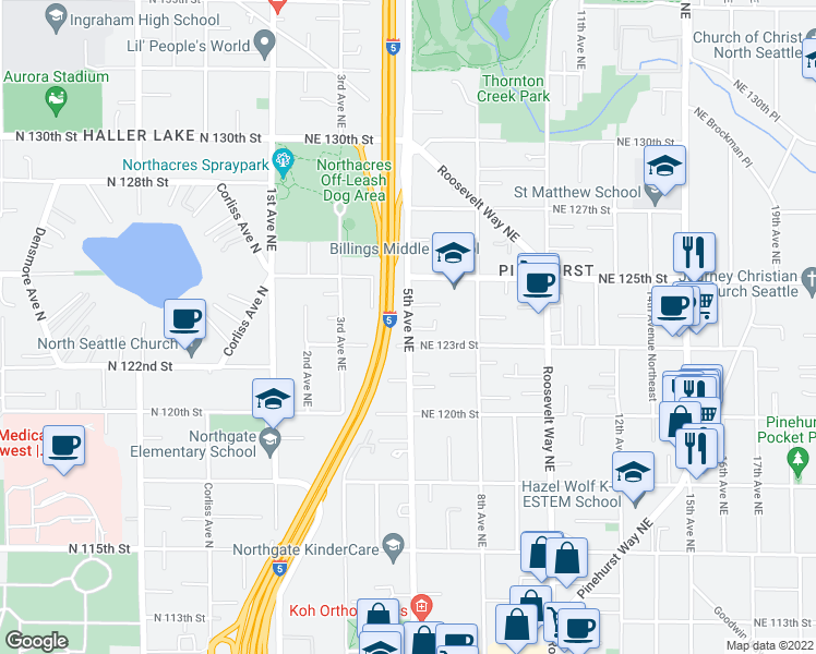 map of restaurants, bars, coffee shops, grocery stores, and more near 12311 5th Avenue Northeast in Seattle
