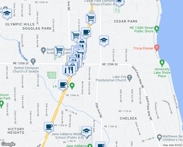 map of restaurants, bars, coffee shops, grocery stores, and more near 12326 33rd Avenue Northeast in Seattle
