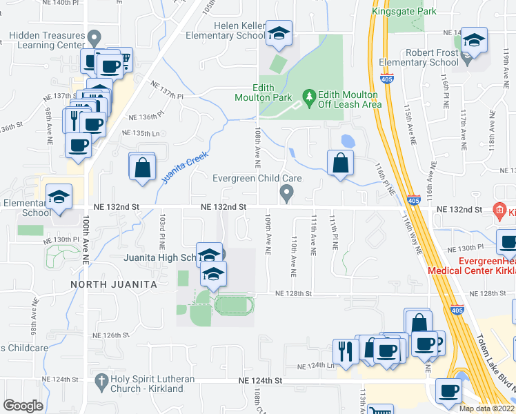 map of restaurants, bars, coffee shops, grocery stores, and more near 108th Ave NE in Kirkland