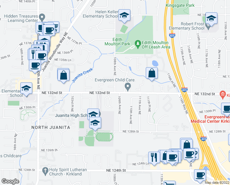 map of restaurants, bars, coffee shops, grocery stores, and more near 108th Avenue Northeast in Kirkland