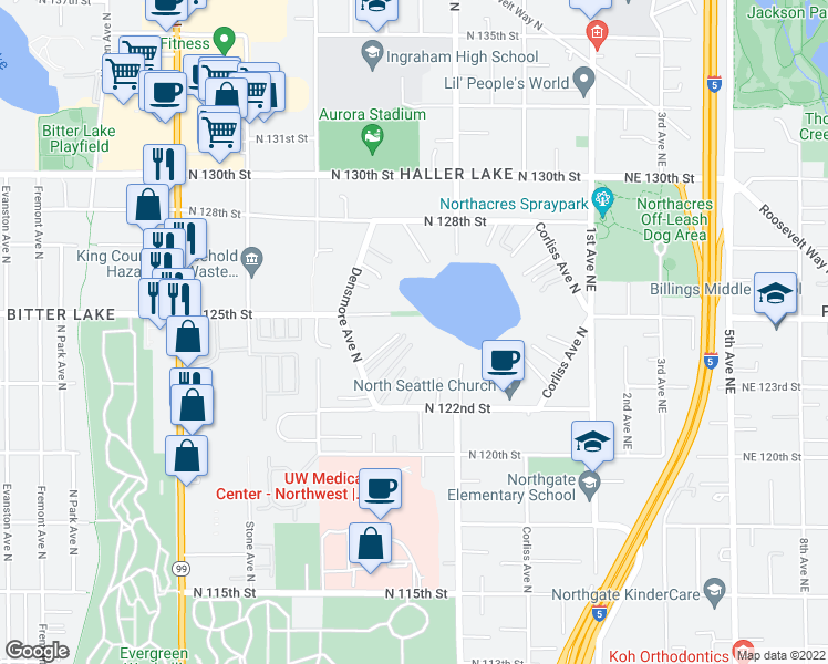 map of restaurants, bars, coffee shops, grocery stores, and more near 12212 Densmore Avenue North in Seattle