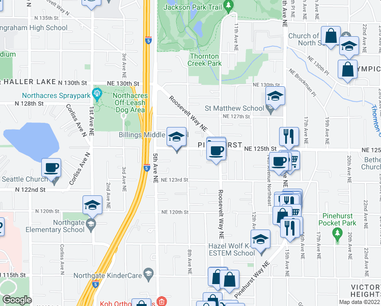 map of restaurants, bars, coffee shops, grocery stores, and more near 801 Northeast 125th Street in Seattle