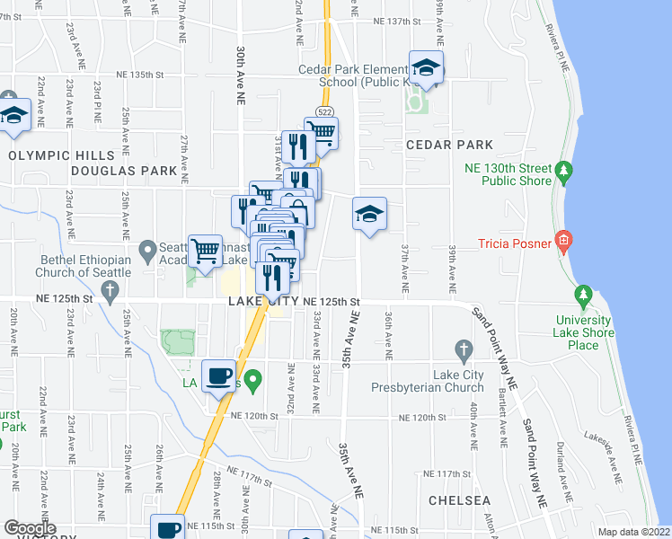 map of restaurants, bars, coffee shops, grocery stores, and more near 12536 33rd Avenue Northeast in Seattle