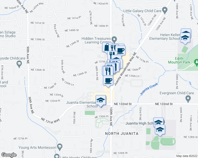 map of restaurants, bars, coffee shops, grocery stores, and more near 13430 98th Avenue Northeast in Kirkland