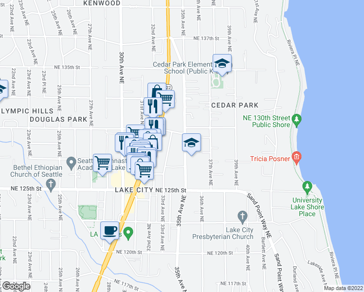 map of restaurants, bars, coffee shops, grocery stores, and more near 12721 35th Avenue Northeast in Seattle