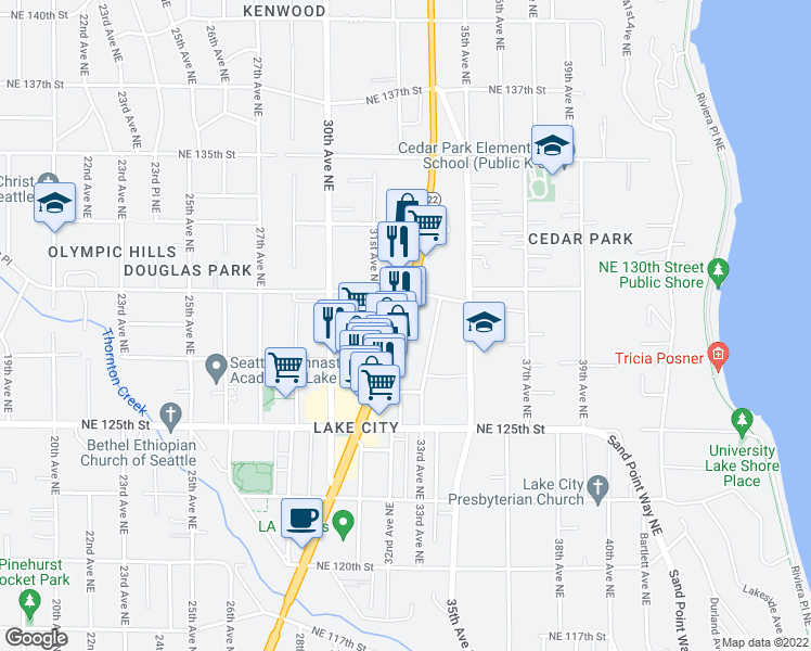 map of restaurants, bars, coffee shops, grocery stores, and more near 12724 Lake City Way Northeast in Seattle