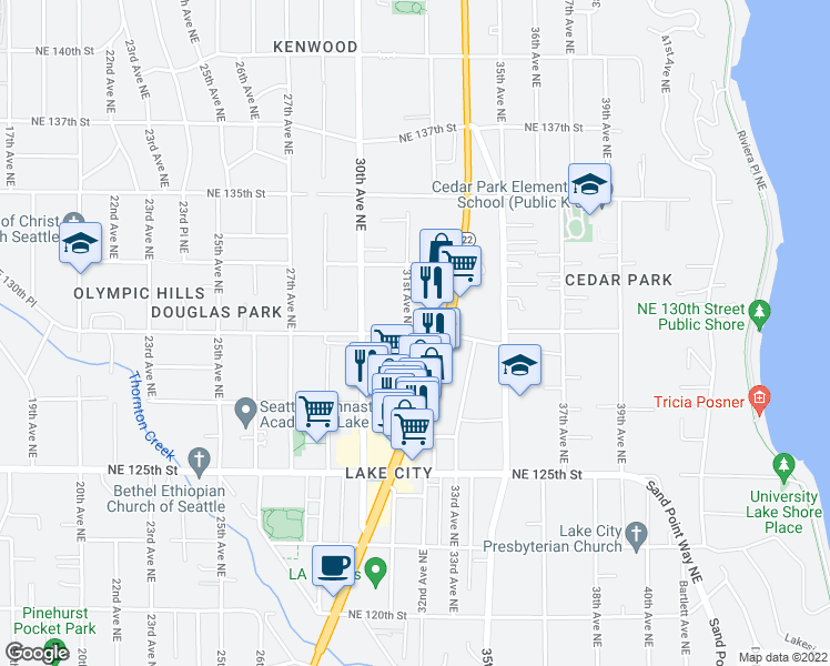 map of restaurants, bars, coffee shops, grocery stores, and more near 3116 NE 130th St in Seattle