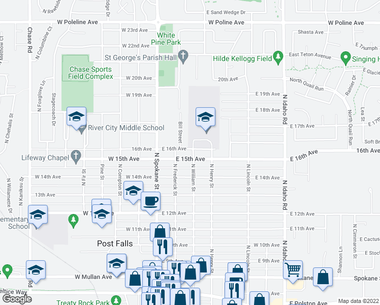 map of restaurants, bars, coffee shops, grocery stores, and more near 204 East 15th Avenue in Post Falls