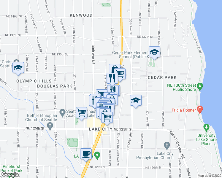 map of restaurants, bars, coffee shops, grocery stores, and more near 3116 Northeast 130th Street in Seattle