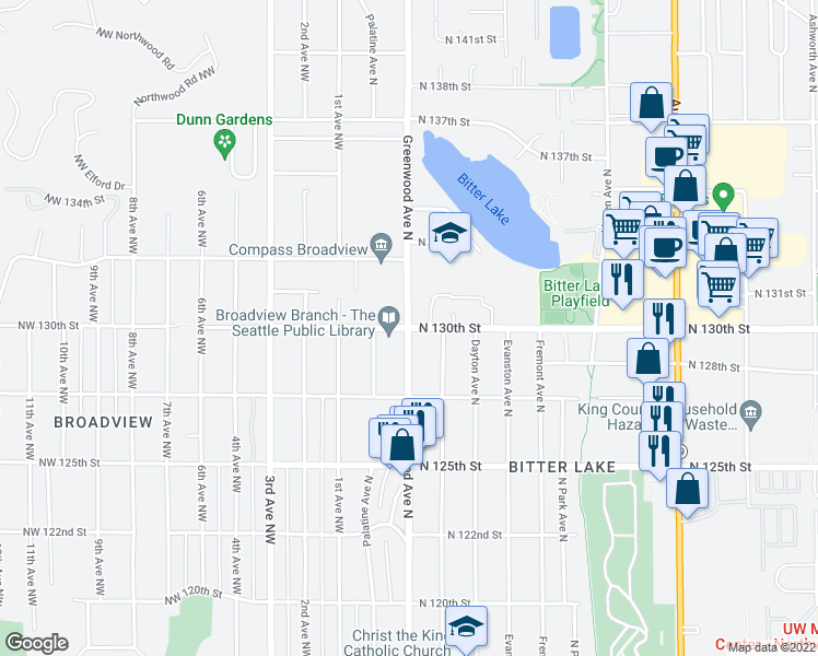 map of restaurants, bars, coffee shops, grocery stores, and more near Greenwood Ave N & N 130th St in Seattle