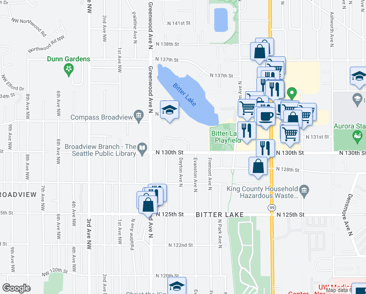 map of restaurants, bars, coffee shops, grocery stores, and more near 474 North 130th Street in Seattle