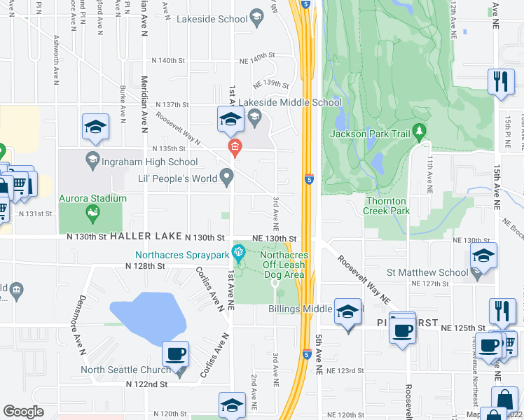 map of restaurants, bars, coffee shops, grocery stores, and more near 13025 3rd Avenue Northeast in Seattle