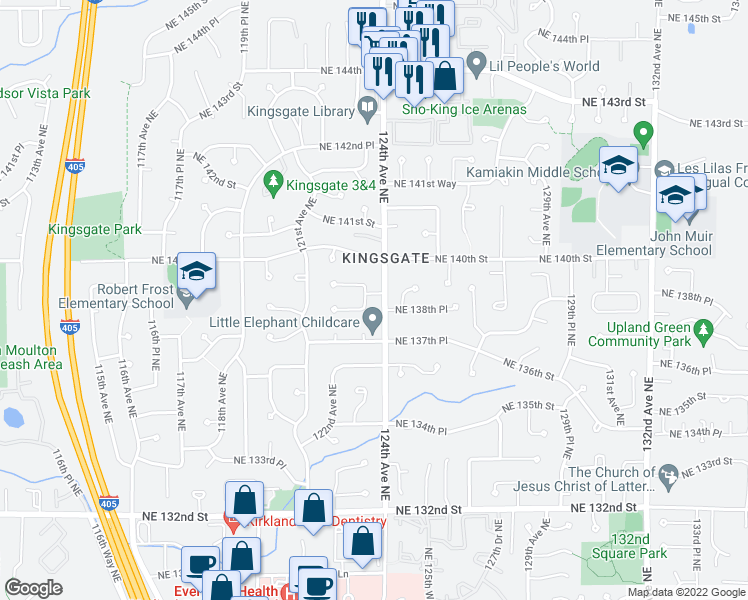 map of restaurants, bars, coffee shops, grocery stores, and more near 13818 123rd Avenue Northeast in Kirkland
