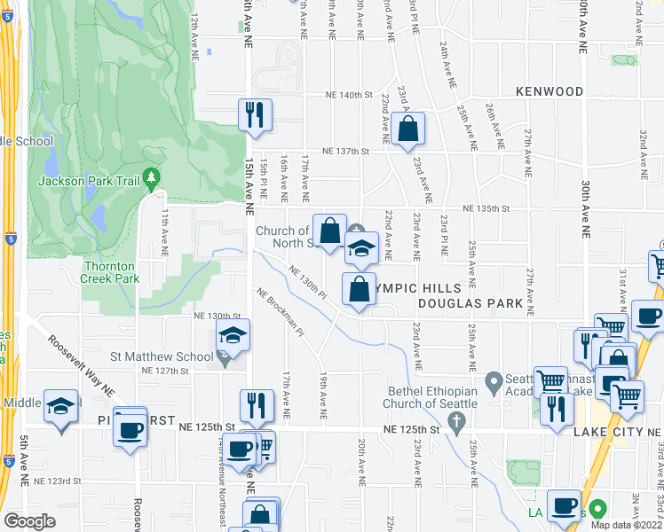 map of restaurants, bars, coffee shops, grocery stores, and more near 13034 19th Avenue Northeast in Seattle