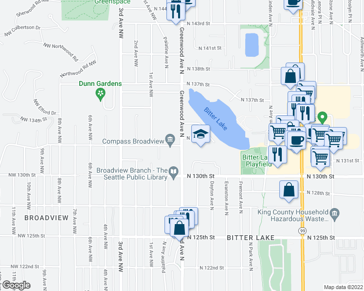 map of restaurants, bars, coffee shops, grocery stores, and more near N 132nd St in Seattle