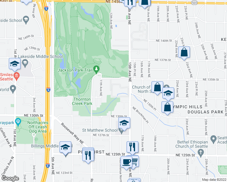map of restaurants, bars, coffee shops, grocery stores, and more near 13211 15th Avenue Northeast in Seattle