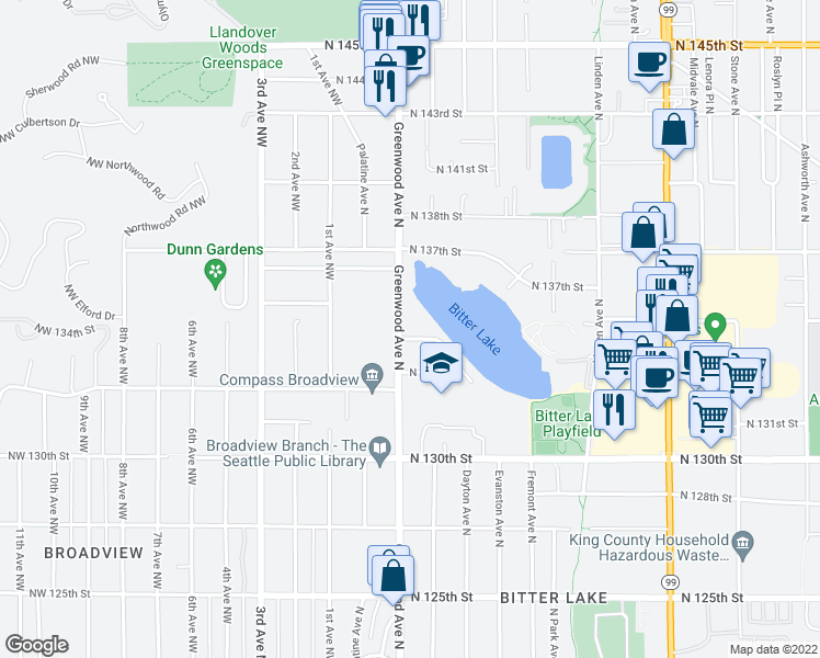 map of restaurants, bars, coffee shops, grocery stores, and more near 13410 Greenwood Avenue North in Seattle