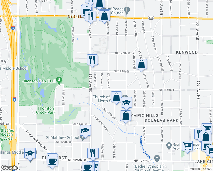 map of restaurants, bars, coffee shops, grocery stores, and more near 13511 17th Avenue Northeast in Seattle