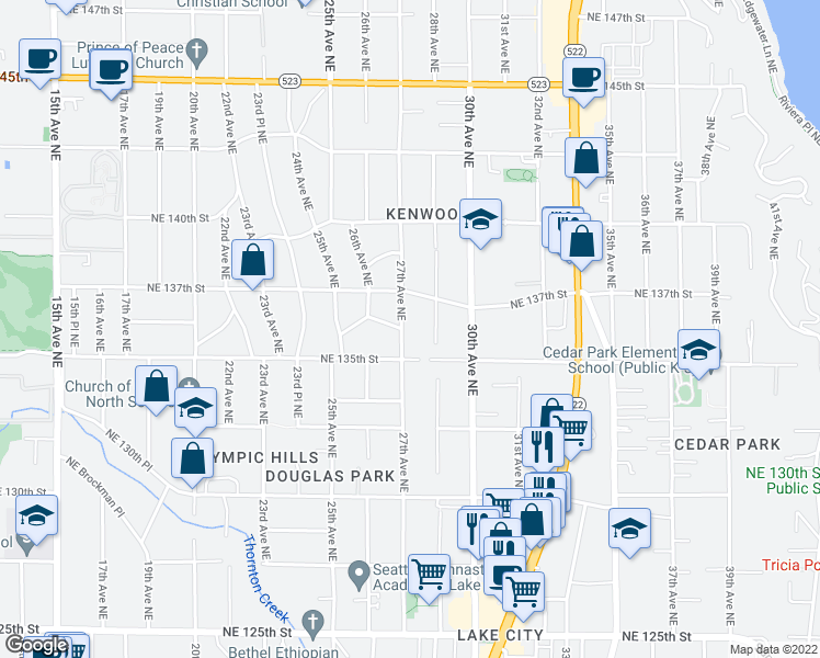 map of restaurants, bars, coffee shops, grocery stores, and more near 13526 27th Avenue Northeast in Seattle