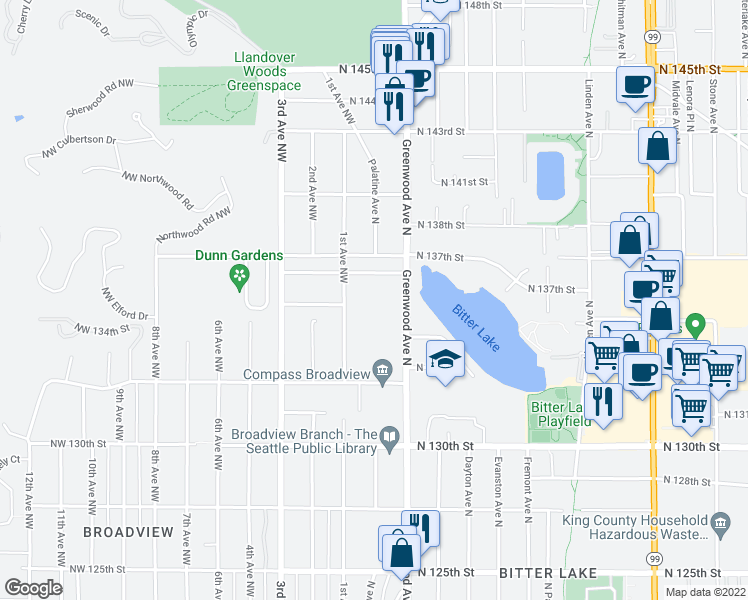 map of restaurants, bars, coffee shops, grocery stores, and more near 13435 Greenwood Avenue North in Seattle
