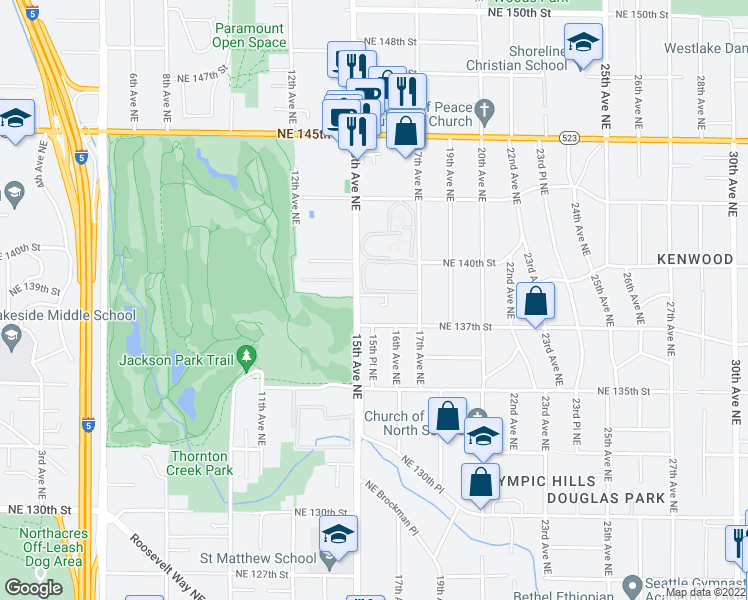 map of restaurants, bars, coffee shops, grocery stores, and more near 13716 15th Avenue Northeast in Seattle