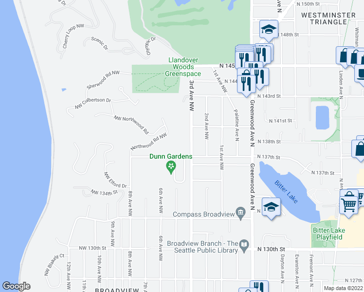 map of restaurants, bars, coffee shops, grocery stores, and more near 320 Northwest 137th Street in Seattle