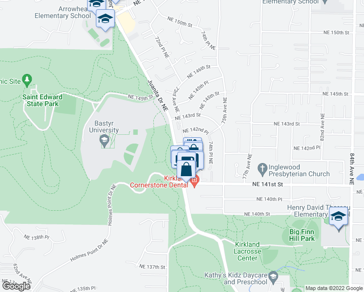 map of restaurants, bars, coffee shops, grocery stores, and more near 7200-7298 Northeast 141st Place in Bothell