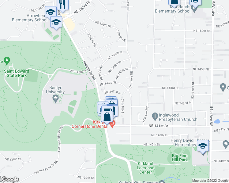 map of restaurants, bars, coffee shops, grocery stores, and more near 14220 Juanita Drive Northeast in Kirkland