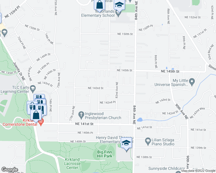 map of restaurants, bars, coffee shops, grocery stores, and more near 14325 81st Court Northeast in Bothell