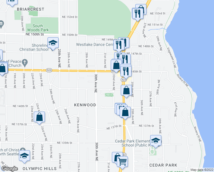 map of restaurants, bars, coffee shops, grocery stores, and more near 14337 32nd Avenue Northeast in Seattle