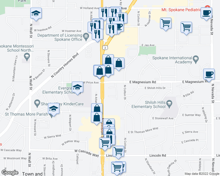 map of restaurants, bars, coffee shops, grocery stores, and more near 20 East Pineridge Court in Spokane