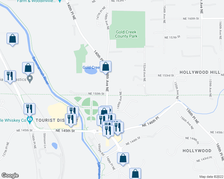 map of restaurants, bars, coffee shops, grocery stores, and more near 15114 148th Ave NE in Woodinville